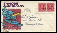 Lot 4486:1940 James Cooper 2c carmine pair on Sturgill hand painted FDC addressed to Minneapolis, cancelled with 'COOPERSTOWN/JAN29/9AM/1940/N.Y. - FIRST DAY OF ISSUE' (A1).