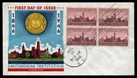 Lot 4263:1946 Smithsonian Institution 3c lake block of 4 on Fluegel FDC cancelled with 'WASHINGTON/AUG./10/9:00AM/1946/D.C.' FDoI, unaddressed.