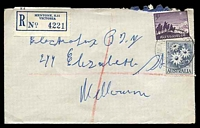 Lot 3022 [2 of 3]:Mentone: - WWW #60B 'MENTONE S.11/27NO59/VIC-AUST' (arcs 2½,3, A1 backstamp) on 2/- Flannel Flower & 5d Christmas on cover to Melbourne with blue C6 registration label. [Rated 2P]  PO 16/5/1884.