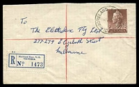 Lot 3036 [2 of 3]:Moreland East: - WWW #10A 'MORELAND EAST N.11/7AU57/VIC-AUST' on 1/7d brown QEII on cover to Melbourne with blue C6 registration label. [Rated P]  PO 1/9/1938; closed 23/7/1988.
