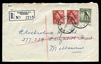 Lot 3067 [2 of 3]:Parkdale: - WWW #10B 'PARKDALE/10NO58/VIC.' (A1 backstamp) on 1/- Lyrebird & 3½d red QEII x2 on cover to Melbourne with blue C6 registration label.  RO 6/1/1921; PO 1/12/1923; LPO 1/11/1993.