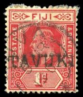 Lot 3558:Tavuki: straight-line 'TAVUKI' on KEVII 1d red with light Suva 1909 cds. [Rated 150]  Renamed from Kadavu West PO c.1905; replaced by Vunisea PO 18/2/1910.