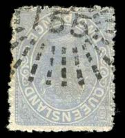 Lot 6914:165: rays (1e) on 2d blue Lined-Oval, some slight toning.  Allocated to Charters Towers-PO 17/5/1872.