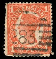 Lot 8230:283: BN on 1d red 4-Corners, rounded BRC.  Allocated to Redcliffe-PO 1/6/1878.
