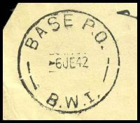 Lot 4937 [2 of 2]:Base P.O. 'BASE P.O./6JE42/B.W.I.' (Barbera, Palestine), on stampless YMCA cover to Manly, NSW, with crowned circle 'PASSED BY CENSOR/No./2135' (A1-). [Rated 200 by Proud]