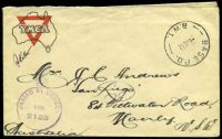 Lot 4937 [1 of 2]:Base P.O. 'BASE P.O./6JE42/B.W.I.' (Barbera, Palestine), on stampless YMCA cover to Manly, NSW, with crowned circle 'PASSED BY CENSOR/No./2135' (A1-). [Rated 200 by Proud]