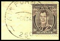 Lot 897 [2 of 2]:Air Force P.O. 'AIR FORCE P.O./5MY44/250.' (Merauke, DNG), cancelling 3d brown KGVI on air cover to Manly, NSW, double oval 'R.A.A.F. CENSOR/679' (B1-) in purple, edges worn. [Rated 200 by Proud]
