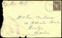 Lot 897 [1 of 2]:Air Force P.O. 'AIR FORCE P.O./5MY44/250.' (Merauke, DNG), cancelling 3d brown KGVI on air cover to Manly, NSW, double oval 'R.A.A.F. CENSOR/679' (B1-) in purple, edges worn. [Rated 200 by Proud]