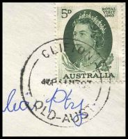 Lot 7343 [2 of 2]:Clifton (2): - 'CLIFTON/445P??63/QLD-AUST' on 5d green Royal Visit on cover to Brisbane.  Renamed from Kings Creek PO c.1869.