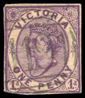 Lot 10460:119: light type 1B on 1d violet cut-out.  Allocated to Woodend-PO 1/11/1856; LPO 4/5/1998.