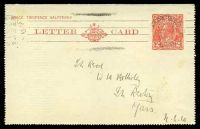 Lot 632:1930-39 2d Red KGV Sideface New Design 'TO OPEN THIS LETTERCARD' BW #LC64 cancelled with light Wagga Wagga NSW machine of Nov 1935, some light toning.