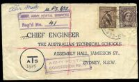 Lot 1044 [1 of 4]:Aust Unit Postal Stn 'AUST UNIT POSTAL STN/29JY45/432' (A1- backstamp, Atherton, Qld) on 6d Kookaburra & 1d purple-brown QE on Australian Technical Schools cover, with boxed 'AUST. ARMY POSTAL SERVICES/Reg'd No. __' (B1) in purple & boxed 'ARMY POSTAL/CONCESSION RATE' (A1) in purple, some light toning, small closed tear on front.