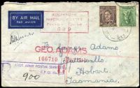 Lot 4946 [1 of 3]:Field Post Office light 'FIELD POST OFFICE/14MY43/033.' (Kaira, Qld), cancelling 4d Koala & 3d brown KGVI on cover to Tatts with boxed 'R/AUST ARMY POSTAL SERVICES/F.P.O. No. 33/NO...' (A1) handstamp in purple and boxed 'AUSTRALIAN/IMPERIAL FORCES/PASSED BY CENSOR/649' (A1-) in claret. [Rated 40 by Proud]