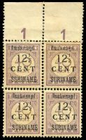Lot 4465:1926 Surcharges SG #182 12½c on 40c lilac, top marginal block of 4, Cat £96, some mild toning.