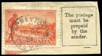 Lot 9820:Spreyton: - framed 'SPREYTON/10OC/34/TASMANIA' on 2d Vic Centenary.  PO 19/2/1883.