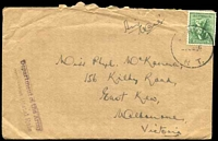 Lot 1002:1946 use of 4d Koala, cancelled with 'DARWIN/??JE46/N T.', on cover to East Kew, Vic, with straight-line 'Department of the Army/C