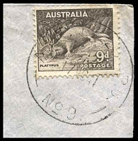Lot 5077 [2 of 2]:A.I.F. Field P.O. light strike of 'A.I.F.FIELD P.O./17NO41/NO.9.' (Khassa, Palestine), on 9d brown Platypus on cover to Elwood, Vic, with triangular 'PASSED BY/CENSOR/[crown]/No. 1736' (A1-) in purple, edge wear. [Rated 200 by Proud]