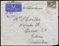 Lot 5077 [1 of 2]:A.I.F. Field P.O. light strike of 'A.I.F.FIELD P.O./17NO41/NO.9.' (Khassa, Palestine), on 9d brown Platypus on cover to Elwood, Vic, with triangular 'PASSED BY/CENSOR/[crown]/No. 1736' (A1-) in purple, edge wear. [Rated 200 by Proud]