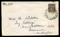 Lot 644:Aust Base P.O. 'NO.8. AUST BASE. P.O./27AP50/C' (Kure, Japan) on 3d brown KGVI, on cover to Campbelltown, Aust, some light toning.