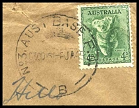 Lot 857 [2 of 2]:Aust Base P.O. 'NO3. AUST BASE P.O./0300HRS6JA45/B' (Brisbane, Qld) on 4d Koala, on cover to Port Lincoln, SA, with boxed 'AUSTRALIAN/MILITARY FORCES/PASSED BY CENSOR/4165' (A1-), some light creasing.