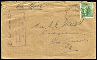 Lot 857 [1 of 2]:Aust Base P.O. 'NO3. AUST BASE P.O./0300HRS6JA45/B' (Brisbane, Qld) on 4d Koala, on cover to Port Lincoln, SA, with boxed 'AUSTRALIAN/MILITARY FORCES/PASSED BY CENSOR/4165' (A1-), some light creasing.