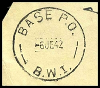Lot 5395 [2 of 2]:Base P.O. 'BASE P.O./6JE42/B.W.I.' (Barbera, Palestine), on stampless YMCA cover to Manly, NSW, with crowned circle 'PASSED BY CENSOR/No./2135' (A1-). [Rated 200 by Proud]
