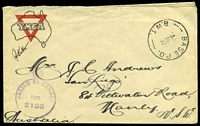 Lot 1162 [1 of 2]:Base P.O. 'BASE P.O./6JE42/B.W.I.' (Barbera, Palestine), on stampless YMCA cover to Manly, NSW, with crowned circle 'PASSED BY CENSOR/No./2135' (A1-). [Rated 200 by Proud]