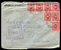 Lot 1163 [1 of 2]:Div. H.Q. P.O. 'DIV. H.Q. P.O./28NO40/D.M.1' (Ikingi Mariut, Egypt), on 10m carmine x7, on cover to Manly, NSW, with double-boxed 'PASSED BY UNIT CENSOR/217' (A1-) in purple, edges worn, some slight toning.