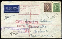 Lot 1047 [1 of 3]:Field Post Office light 'FIELD POST OFFICE/14MY43/033.' (Kaira, Qld), cancelling 4d Koala & 3d brown KGVI on cover to Tatts with boxed 'R/AUST ARMY POSTAL SERVICES/F.P.O. No. 33/NO...' (A1) handstamp in purple and boxed 'AUSTRALIAN/IMPERIAL FORCES/PASSED BY CENSOR/649' (A1-) in claret. [Rated 40 by Proud]