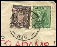 "Lot 651 [2 of 2]:Field Post Office 'FIELD POST OFFICE/10FE45/035' (Wondecla, Qld) on 4d Koala & 3d brown KGVI on cover to Tatts with boxed 'R/AUST ARMY POSTAL SERVICES/F.P.O. No""35""/NO_' (A1-) in purple & boxed 'AUST"