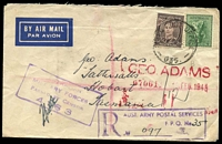 "Lot 651 [1 of 2]:Field Post Office 'FIELD POST OFFICE/10FE45/035' (Wondecla, Qld) on 4d Koala & 3d brown KGVI on cover to Tatts with boxed 'R/AUST ARMY POSTAL SERVICES/F.P.O. No""35""/NO_' (A1-) in purple & boxed 'AUST"