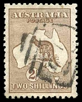 Lot 867:2/- Brown BW #37 couple of small tonespots, Cat $35. Indistinct NSW numeral cancel