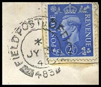 Lot 3789 [2 of 2]:Field Post Office double-circle 'FIELD POST OFFICE/*/JY30/43/483' (U.K.), on GB 2½d blue KGVI on Canadian YMCA cover to Cheshire, backstamped with straight-line '13FD. REGT. R.C.A./' (A1) in purple, stamp affixed to separate piece which is glued to cover.