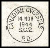 Lot 19952 [3 of 3]:1944 use of GB 2½d blue KGVI, cancelled with 'CANADIAN OVERSEAS/14NOV/1944/S.C.2./P.D.' (A1) machine, to R.N.A.S. Edinburgh, redirected to Ayr & finally to Stockport.