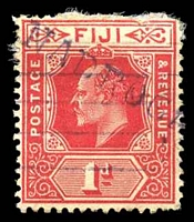 Lot 4043:Nadroga: straight-line 'NADROGA' on 1d red KEVII. [Rated 125 by Proud]  PO c.1890; renamed Sigatoka PO c.-/6/1968.