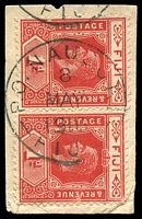 Lot 4044:Nausori: 'P.O. NAUSORI/8/MAY/1916/FIJI' (arcs 3½,3½) on 1d red KGV pair.  PO c.1890.