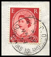 Lot 4110 [2 of 2]:Christmas Island - British PO: 'B.F.P.O./*/26AP/57/CHRISTMAS ISLAND' on GB 2½d red on air cover to Honolulu.  PO c.1956; closed c.1964.