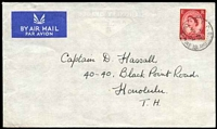 Lot 4110 [1 of 2]:Christmas Island - British PO: 'B.F.P.O./*/26AP/57/CHRISTMAS ISLAND' on GB 2½d red on air cover to Honolulu.  PO c.1956; closed c.1964.