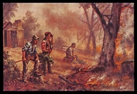 Lot 80:Australia - Victoria: coloured reproduction PPC of 'THE ENEMY. From the Australian Bushfire Series'.