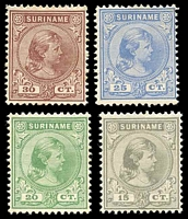 Lot 4372 [1 of 2]:1892 Wilhelmina SG #63-8 set of 6, Cat £95.