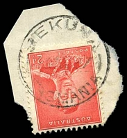 Lot 10879:Rekuna: - 'REKUNA/?AU37/TASMANIA' on 2d scarlet KGVI Die I. [Rated R]  Renamed from Tea Tree Upper RO 1/1/1912; PO c.1926; closed 25/11/1965.