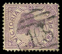 Lot 1881:108: type 1AR on 2d violet.  Allocated to Preston-PO 1/3/1856.
