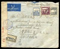 Lot 27085 [1 of 2]:1940 use of 50m purple, 15m blue & 10m grey, cancelled with oval 'REGISTERED/B/1DE40/JERUSALEM' (B1) on air cover to Sydney, NSW with blue registration label, sealed at left with 'PC 22./OPENED BY/CENSOR./69/13833' label & hexagonal 'PALESTINE/PASSED BY/CENSOR/I.23' (B1) in blue.