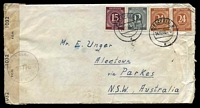 Lot 22658:1946 use of 12pf grey, 15pf brown-lilac & 24pf chestnut x2, cancelled with double-circle 'BIELEFIELD/14.10.46-9/d' (A1-), on cover to Alectown, NSW, sealed at left with '[crown]/OPENED BY EXAMINER/1032/P.C.90.' label & 'MILITARY CENSOR/15776/CIVIL MAILS' (B1) in purple, letter included, some wear.