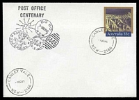 Lot 783:Canley Vale - 2 strikes of 'CANLEY VALE/1OC85/NSW-2166' on 33c PSE Philas Post Office Centenary cover, unaddressed.  PO 1/10/1885.