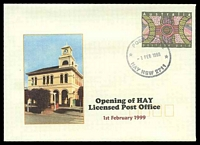 Lot 6010:Hay: - '* POST OFFICE */1FEB1999/HAY NSW 2711' opening day of LPO on PSE Alexander opening cover, unaddressed.  Renamed from Lang's Crossing Place PO 22/2/1861.