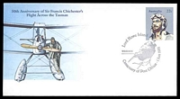 Lot 1041:Lord Howe Island: 'Lord Howe Island 2898/WOODHEN [woodhen]/Centenary of Post Office . 1 Jun 1981' on 50th Anniversary of Sir Francis Chichester's Flight Across the Tasman cover, unaddressed.  RO 1/6/1881; PO 1/8/1882.