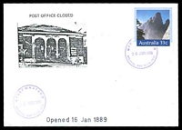 Lot 1054:Neutral Bay: 2 strikes of '* POSTMASTER */30JUN1986/NEUTRAL BAY N.S.W. 2089' (closing day) in violet on 33c PSE Philas cover, unaddressed.  PO 16/1/1889; closed 30/6/1986.