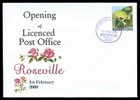 Lot 1425:Roseville: - '* LICENSED POST OFFICE */1FEB2000/ROSEVILLE/N.S.W./2069' on Alexander Opening of LPO Illustrated cover, unaddressed.  PO 8/7/1901.