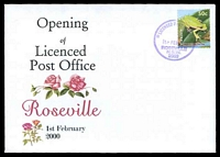 Lot 1071:Roseville: - '* LICENSED POST OFFICE */1FEB2000/ROSEVILLE/N.S.W./2069' on Alexander Opening of LPO Illustrated cover, unaddressed.  PO 8/7/1901.